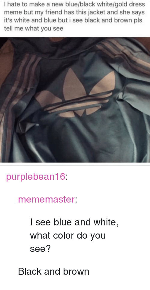 """Meme, Target, and Tumblr: I hate to make a new blue/black white/gold dress  meme but my friend has this jacket and she says  it's white and blue but i see black and brown pls  tell me what you see <p><a href=""""http://purplebean16.tumblr.com/post/140102393236"""" class=""""tumblr_blog"""" target=""""_blank"""">purplebean16</a>:</p>  <blockquote><p><a href=""""http://mememaster.tumblr.com/post/140093680769/i-see-blue-and-white-what-color-do-you-see"""" class=""""tumblr_blog"""" target=""""_blank"""">mememaster</a>:</p>  <blockquote><p>I see blue and white, what color do you see?</p></blockquote>  <p>Black and brown</p></blockquote>"""