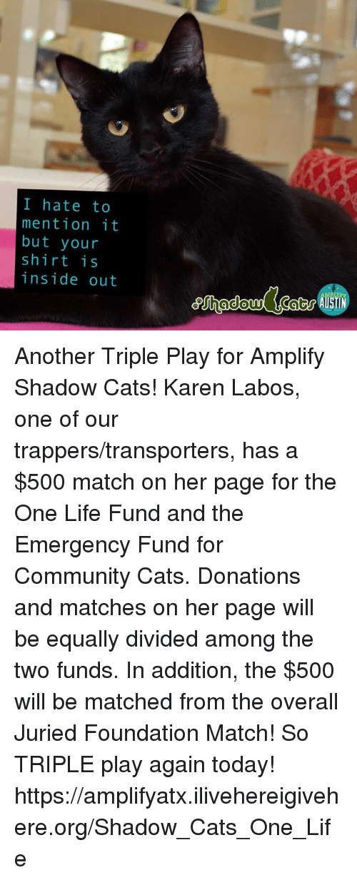 Equalizer: I hate to  mention it  but your  shirt is  inside out Another Triple Play for Amplify Shadow Cats! Karen Labos, one of our trappers/transporters, has a $500 match on her page for the One Life Fund and the Emergency Fund for Community Cats.  Donations and matches on her page will be equally divided among the two funds.  In addition, the $500 will be matched from the overall Juried Foundation Match! So TRIPLE play again today!  https://amplifyatx.ilivehereigivehere.org/Shadow_Cats_One_Life
