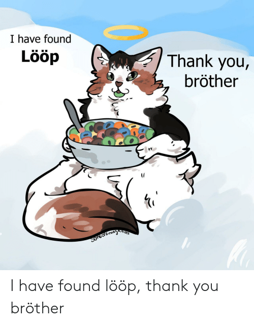 Thank You, Brother, and You: I have found  Lööp  Thank you,  bröther  Arnsts  Suneardinayn I have found lööp, thank you bröther