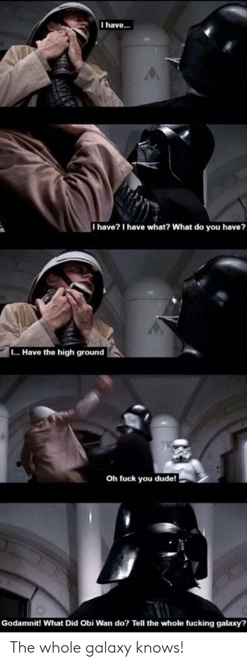 what did: I have...  I have? I have what? What do you have?  ... Have the high ground  Oh fuck you dude!  Godamnit! What Did Obi Wan do? Tell the whole fucking galaxy? The whole galaxy knows!
