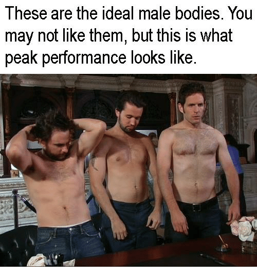 Bodies , Memes, and 🤖: I hese are the ideal male bodies. You  may not like them, but this is what  peak performance looks like