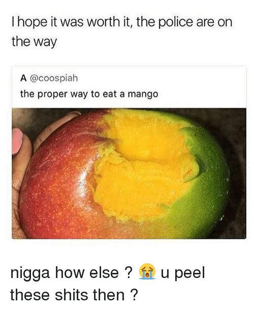 Memes, Police, and Mango: I hope it was worth it, the police are on  the way  A @coospiah  the proper way to eat a mango nigga how else ? 😭 u peel these shits then ?
