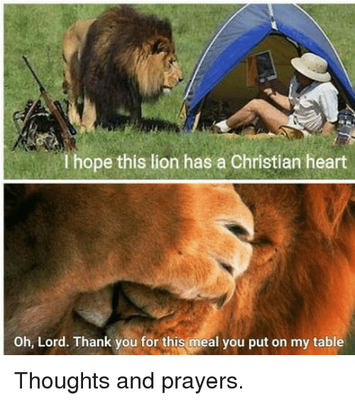 Dank, Thank You, and Heart: I hope this lion has a Christian heart  Oh, Lord. Thank you for this meal you put on my table Thoughts and prayers.