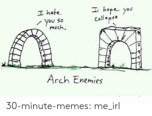 collapse: I hope yau  I hate  You So  much  Collapse  Arch Enemies 30-minute-memes:  me_irl