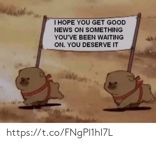 Memes, News, and Good: I HOPE YOU GET GOOD  NEWS ON SOMETHING  YOU'VE BEEN WAITING  ON. YOU DESERVE IT https://t.co/FNgPl1hI7L