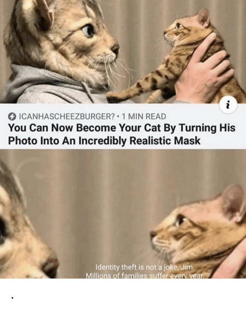 Theft: i  ICANHASCHEEZBURGER? 1 MIN READ  You Can Now Become Your Cat By Turning His  Photo Into An Incredibly Realistic Mask  Identity theft is not a joke, Jim.  Millions of families suffer every year. .