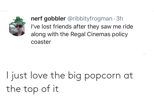 Popcorn: I just love the big popcorn at the top of it