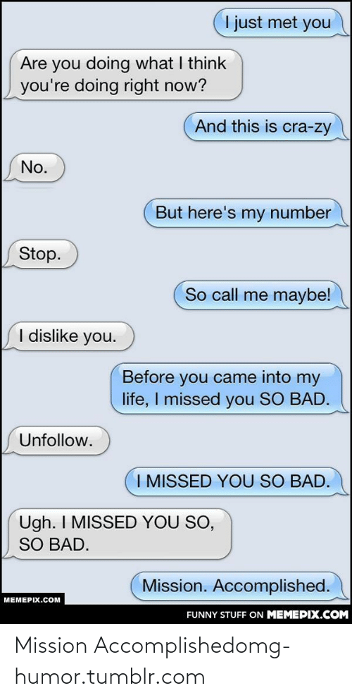 Me Maybe: I just met you  Are you doing what I think  you're doing right now?  And this is cra-zy  No.  But here's my number  Stop.  So call me maybe!  I dislike you.  Before you came into my  life, I missed you SO BAD.  Unfollow.  I MISSED YOU SO BAD.  Ugh. I MISSED YOU SO,  SO BAD.  Mission. Accomplished.  MEMEPIX.COM  FUNNY STUFF ON MEMEPIX.COM Mission Accomplishedomg-humor.tumblr.com