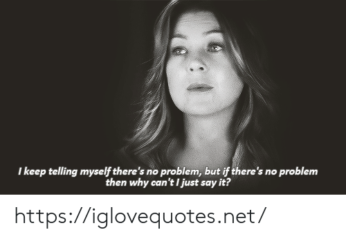 Just Say: I keep telling myself there's no problem, but if there's no problem  then why can't I just say it? https://iglovequotes.net/