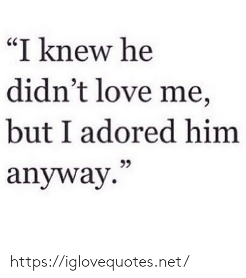 "knew: ""I knew he  didn't love me,  but I adored him  99  anyway."" https://iglovequotes.net/"