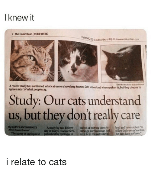"""Cats, Tube, and Girl Memes: I knew it  2 The Columbian YOUR WEEK  E94.  22  tube, or log on to www.cokumbian.com  A recent study has confirmed what cat owners have long known: Cats understand when spoken to, but they choose to  ignore most of what people say.  Study: Our cats understand  us, but they dont really care  ATHYANTONIOTA study by two Universtress of moving them to  Th  bred and have evolved """"to  of Tokyo researchers  published by Sprinaerin  strange surroundings had folow their owner's orders,  norole in the outcome ofbut cats he pot been.  d i relate to cats"""