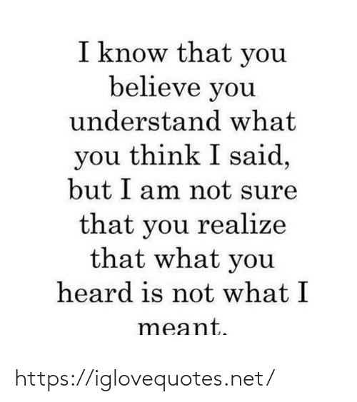 not sure: I know that you  believe you  understand what  you think I said,  but I am not sure  that you realize  that what you  heard is not what I  meant. https://iglovequotes.net/