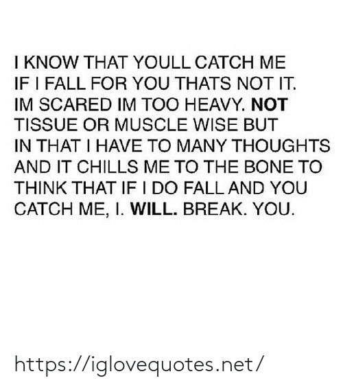scared: I KNOW THAT YOULL CATCH ME  IF I FALL FOR YOU THATS NOT IT.  IM SCARED IM TOO HEAVY. NOT  TISSUE OR MUSCLE WISE BUT  IN THAT I HAVE TO MANY THOUGHTS  AND IT CHILLS ME TO THE BONE TO  THINK THAT IF I DO FALL AND YOU  CATCH ME, I. WILL. BREAK. YOU. https://iglovequotes.net/