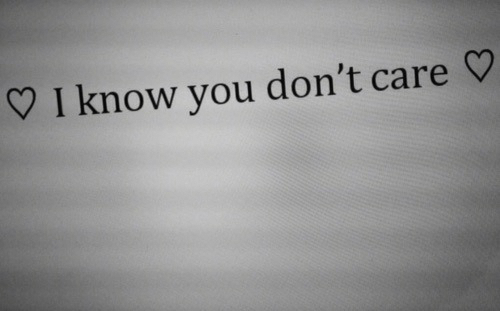 You, I Know, and I Know You: I know you don't care