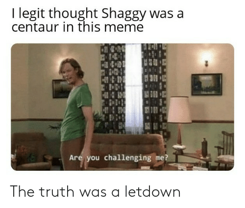 Meme, Thought, and Truth: I legit thought Shaggy was a  centaur in this meme  Are you challenging me? The truth was a letdown