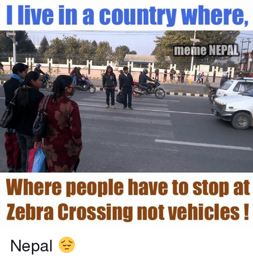Cross, Nepal, and Nepali: I live in a country where,  meme NEPAL  Where people have to stop at  Zebra Crossing not vehicles Nepal 😔