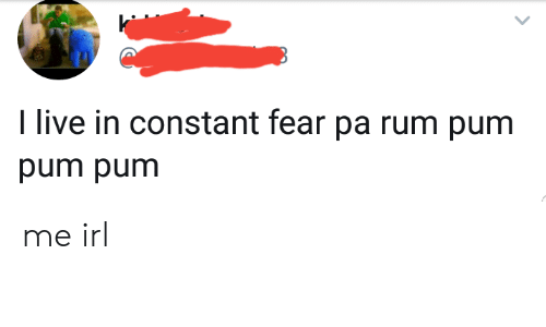 Live, Fear, and Irl: I live in constant fear pa rum pum  pum pum me irl