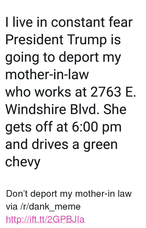 "Dank, Meme, and Chevy: I live in constant fear  President Trump is  going to deport my  mother-in-law  who works at 2763 E  Windshire Blvd. She  gets off at 6:00 pm  and drives a green  chevy <p>Don't deport my mother-in law via /r/dank_meme <a href=""http://ift.tt/2GPBJIa"">http://ift.tt/2GPBJIa</a></p>"