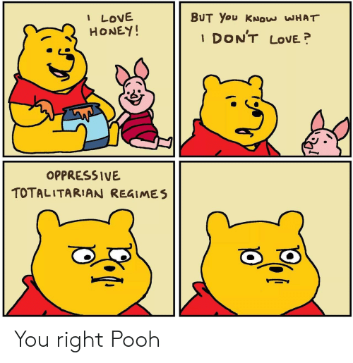 Love, Honey, and You: I LOVE  HONEY!  BUT You KNOW WHAT  DON'T  LOVE  1  OPPRESSIVE  TOTALITARIAN REGIMES You right Pooh