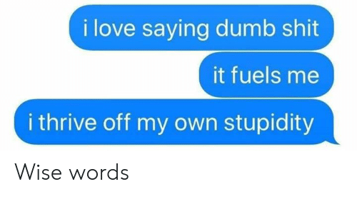 Stupidity: i love saying dumb shit  it fuels me  i thrive off my own stupidity Wise words