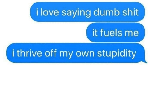 Stupidity: i love saying dumb shit  it fuels me  i thrive off my own stupidity