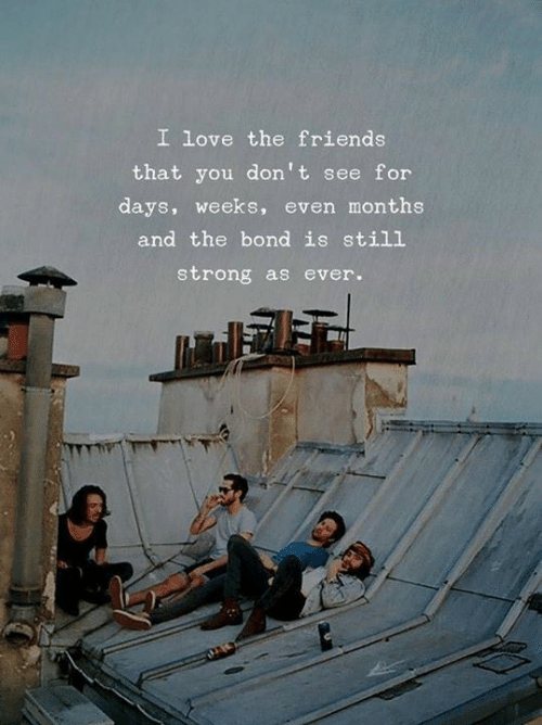 Friends, Love, and Strong: I love the friends  that you don't see for  days, weeks, even months  and the bond is still  strong as ever.