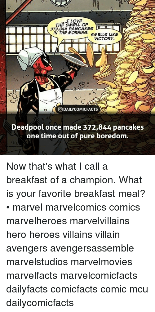 Deadpoole: I LOVE  THE SMELL OF  372,e44 PANCAKES  IN THE MORNING. SMELLS LIKE  VICTORY.  回DAILYCOMICFACTS  Deadpool once made 372,844 pancakes  one time out of pure boredom. Now that's what I call a breakfast of a champion. What is your favorite breakfast meal? • marvel marvelcomics comics marvelheroes marvelvillains hero heroes villains villain avengers avengersassemble marvelstudios marvelmovies marvelfacts marvelcomicfacts dailyfacts comicfacts comic mcu dailycomicfacts