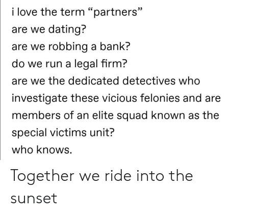 "Dating, Love, and Run: i love the term ""partners""  are we dating?  are we robbing a bank?  do we run a legal firm?  are we the dedicated detectives who  investigate these vicious felonies and are  members of an elite squad known as the  special victims unit?  who knows. Together we ride into the sunset"