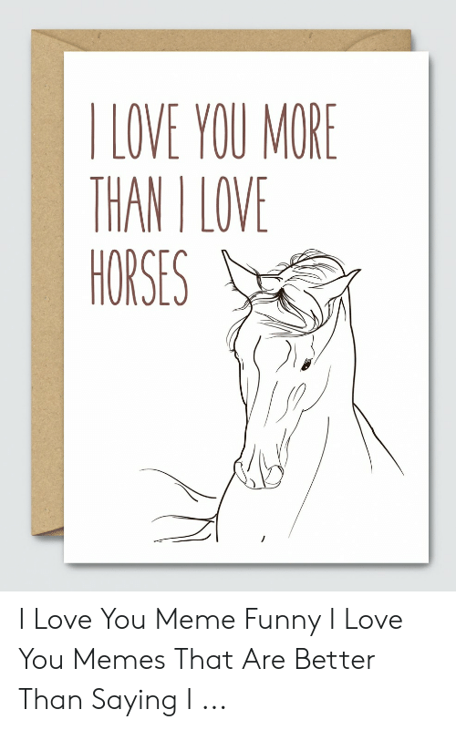Funny, Horses, and Love: I LOVE YOU MORE  THAN I LOVE  HORSES I Love You Meme Funny I Love You Memes That Are Better Than Saying I ...