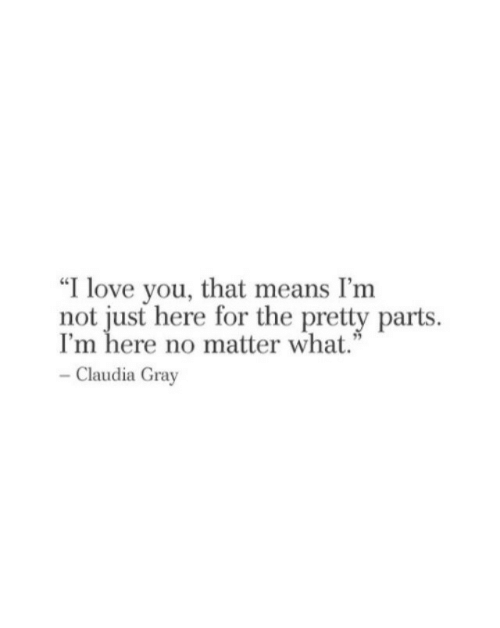 "Love, I Love You, and Means: ""I love you, that means I'nm  not just here for the pretty parts  I'm here no matter what.""  Claudia Gray"