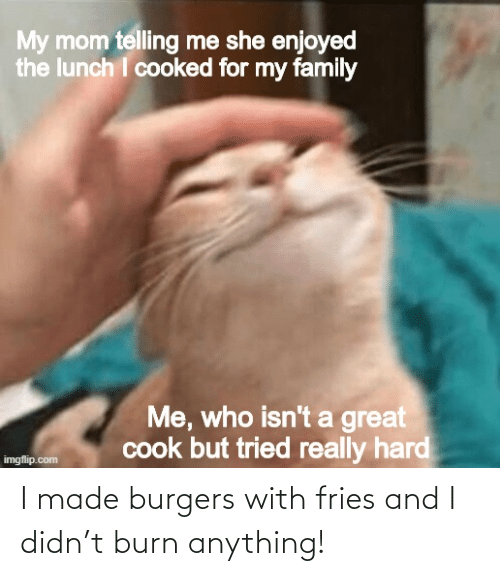 I Made: I made burgers with fries and I didn't burn anything!
