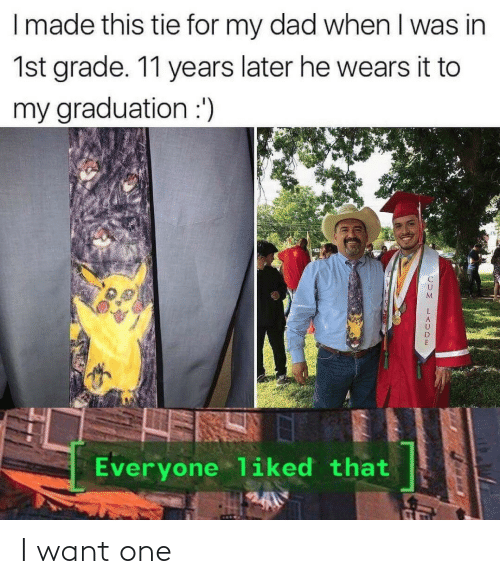 When I Was: I made this tie for my dad when I was in  1st grade. 11 years later he wears it to  my graduation :')  Everyone liked that I want one