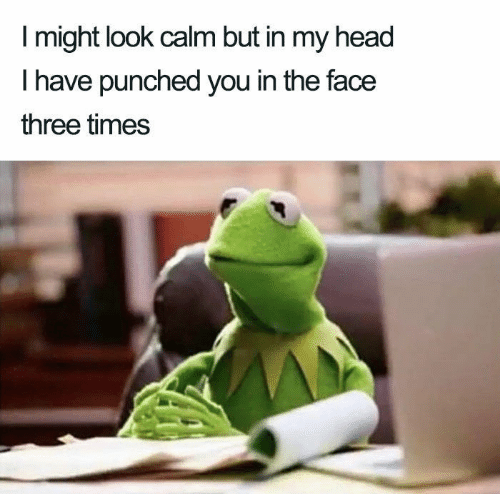 Head, Three, and Face: I might look calm but in my head  T have punched you in the face  three times