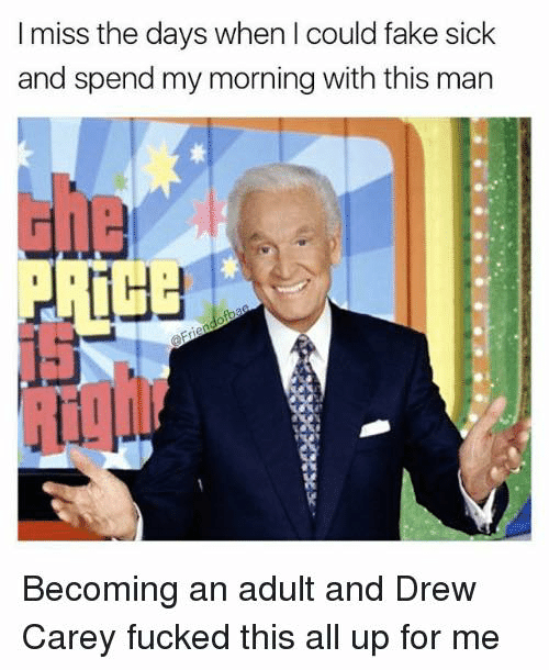 Drew Carey: I miss the days when I could fake sick  and spend my morning with this man  ula  111]」  Becoming an adult and Drew  Carey fucked this all up for me