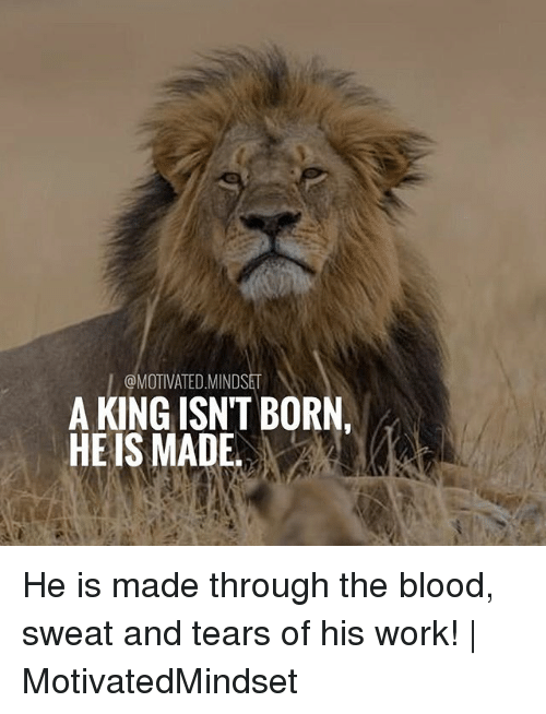 Bloods, Memes, and Work: I@MOTIVATED.MINDSET  A KING ISN'T BORN,  HE IS MADE He is made through the blood, sweat and tears of his work! | MotivatedMindset