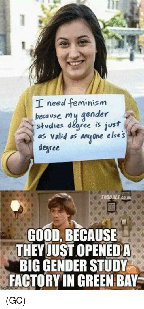 Feminism, Memes, and Good: I need feminism  becavse mj gender  stdies degree is just  as valid os anyne else s  degree  GOOD, BECAUSE  THEYJUST OPENEDA  BIG GENDER STUDY  FACTORY IN GREEN BAY (GC)