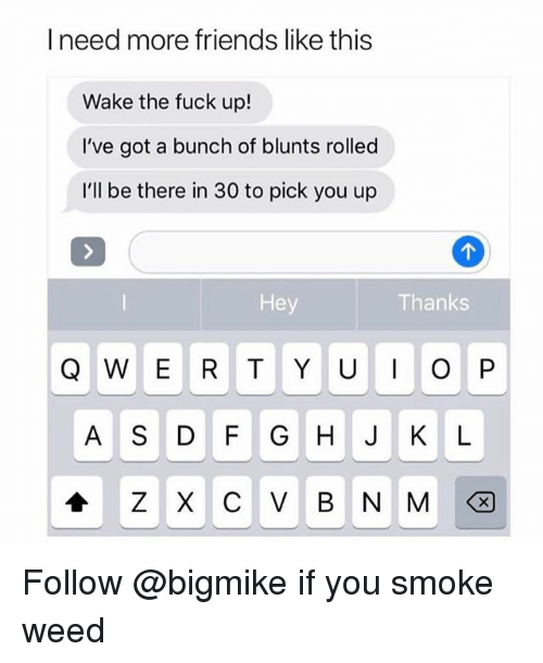 Blunts, Friends, and Weed: I need more friends like thiss  Wake the fuck up!  I've got a bunch of blunts rolled  I'll be there in 30 to pick you up  Hey  Thanks  Q W E R TY UO P  A S D F G H K L Follow @bigmike if you smoke weed