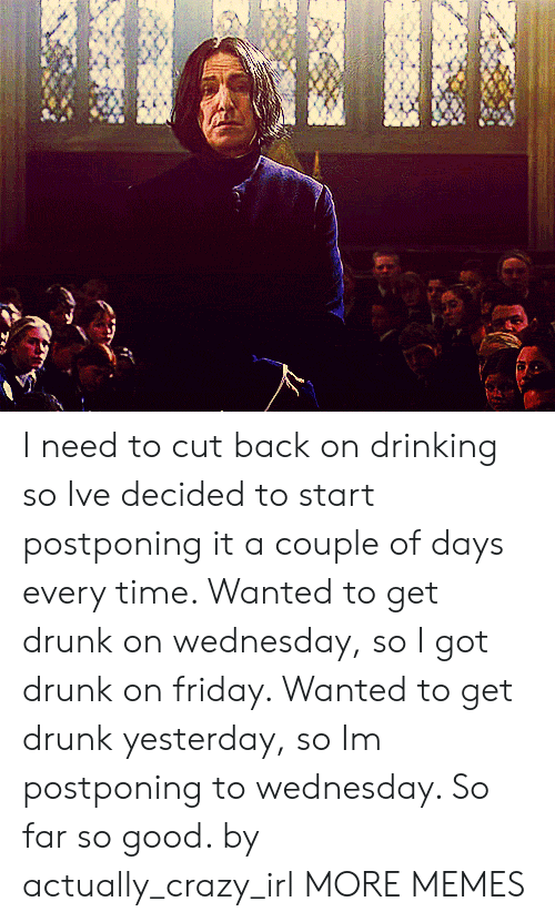 Drunking: I need to cut back on drinking so Ive decided to start postponing it a couple of days every time. Wanted to get drunk on wednesday, so I got drunk on friday. Wanted to get drunk yesterday, so Im postponing to wednesday. So far so good. by actually_crazy_irl MORE MEMES