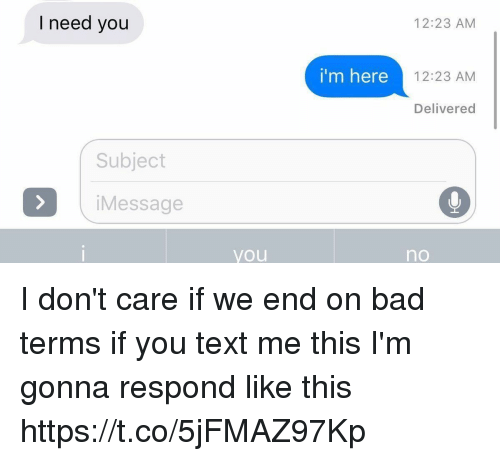 Bad, Text, and Girl Memes: I need you  12:23 AM  i'm here  12:23 AM  Delivered  Subject  iMessage  you  no I don't care if we end on bad terms if you text me this I'm gonna respond like this https://t.co/5jFMAZ97Kp