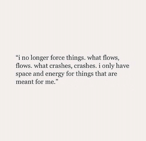 "Crashes: ""i no longer force things. what flows,  flows. what crashes, crashes. i only have  space and energy for things that are  meant for me."""