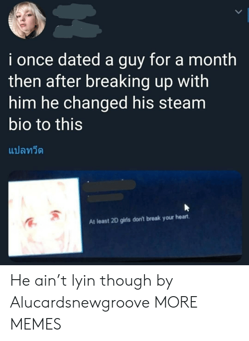 Dank, Girls, and Memes: i once dated a guy for a month  then after breaking up with  him he changed his steam  bio to this  แปลทวีต  At least 2D girls don't break your heart He ain't lyin though by Alucardsnewgroove MORE MEMES