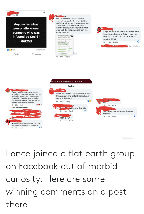 Flat Earth: I once joined a flat earth group on Facebook out of morbid curiosity. Here are some winning comments on a post there