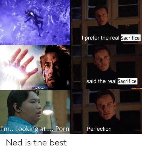 Iron Man, Best, and Porn: I prefer the real Sacrifice  I said the real Sacrifice  Iron Man.  I'm.. Looking at.... Porn  Perfection Ned is the best