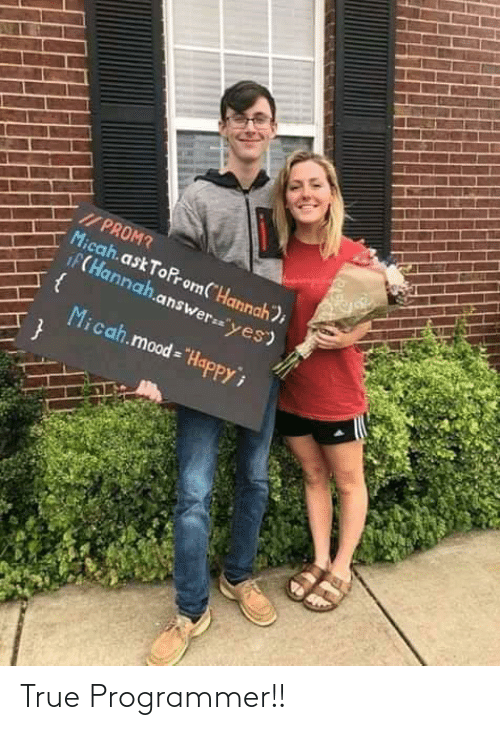 """prom: I/ PROM?  Micah.ask ToProm(""""Hannah);  iF(Hannah.answer=""""yes)  Micah.mood = """"HapPPY True Programmer!!"""
