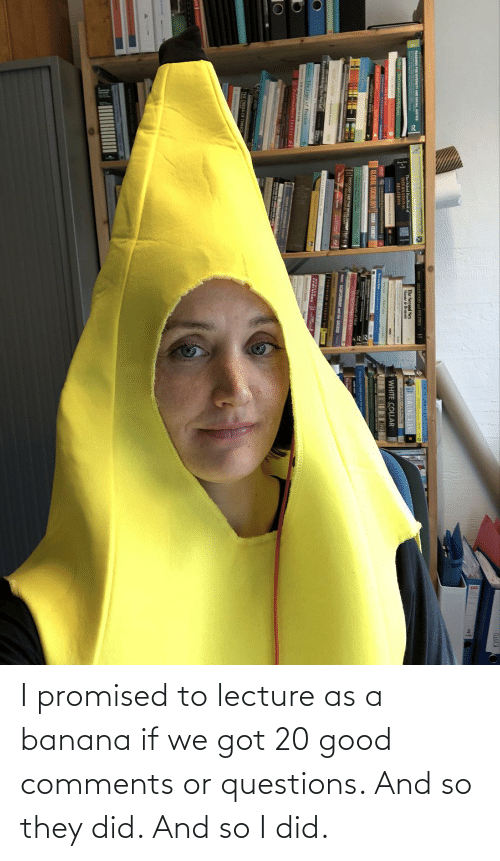 Lecture: I promised to lecture as a banana if we got 20 good comments or questions. And so they did. And so I did.