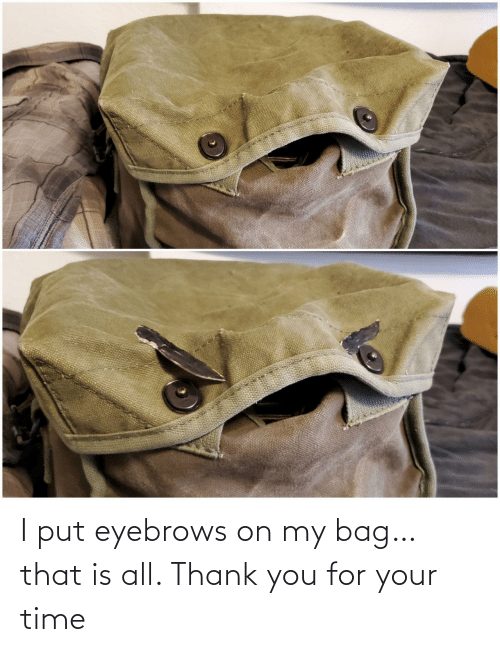 bag: I put eyebrows on my bag… that is all. Thank you for your time