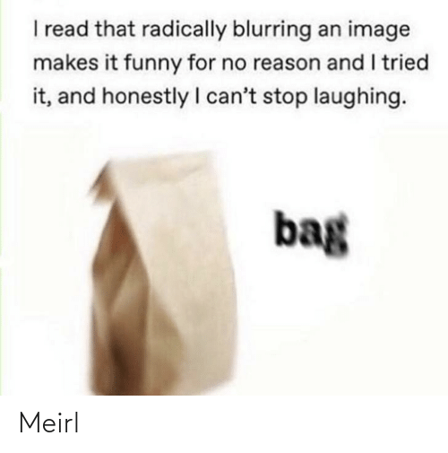 bag: I read that radically blurring an image  makes it funny for no reason and I tried  it, and honestly I can't stop laughing.  bag Meirl
