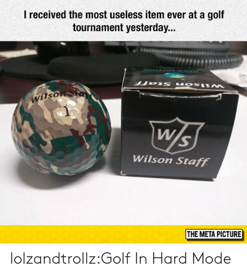 Tournament: I received the most useless item ever at a gof  tournament yesterday...  Wilso  Wilson Staff  THE META PICTURE lolzandtrollz:Golf In Hard Mode