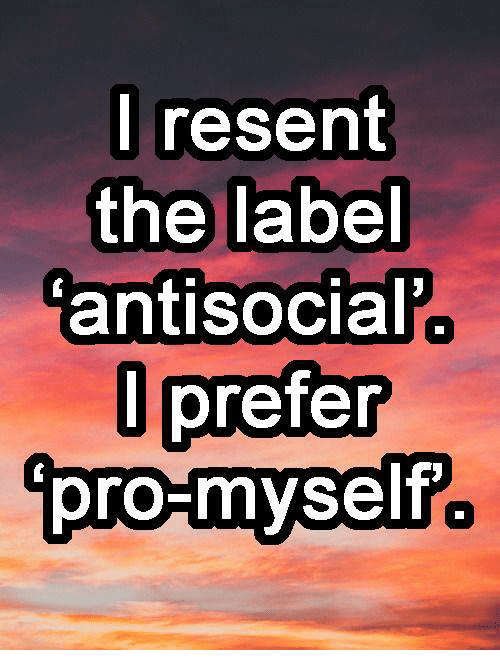 Memes, Antisocial, and 🤖: I resent  the label  antisocial  prefer  l pro-myself