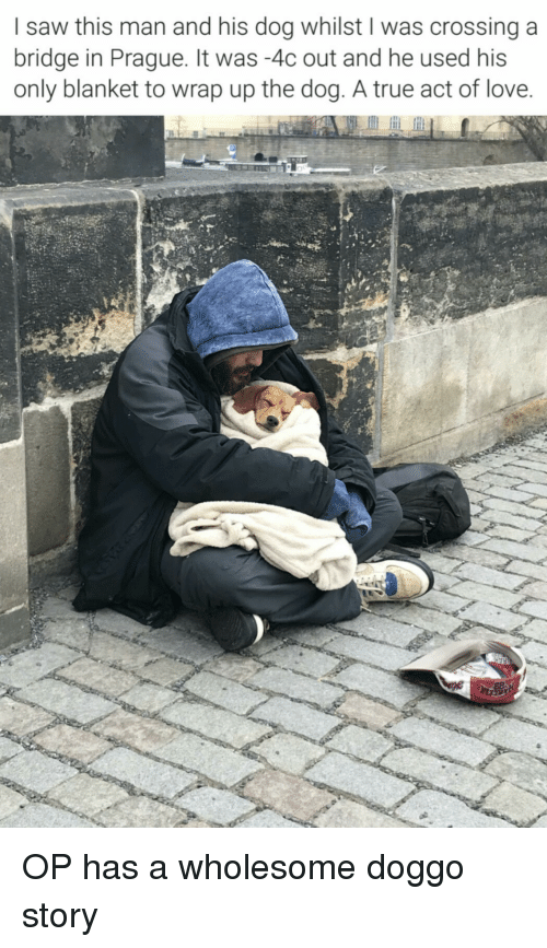 Prague: I saw this man and his dog whilst I was crossinga  bridge in Prague. It was -4c out and he used his  only blanket to wrap up the dog. A true act of love OP has a wholesome doggo story